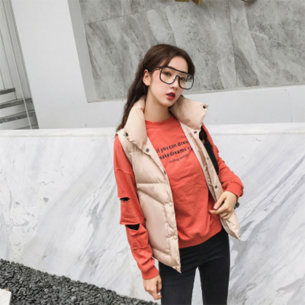 Womens Solid Warm Stand Collar Jacket Slim Button Winter Parka Outwear Coat Vest