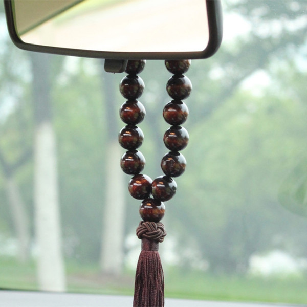 fashion new 1 pc wood buddha 21 beads auto car interior rearview mirror hanging pendant decor ornament high quality