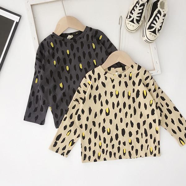 WLG bambini maglietta dei ragazzi primavera leopardo di autunno kaki stampato grigio scuro supera bambino di modo tutti i bambini partita maglietta vestiti