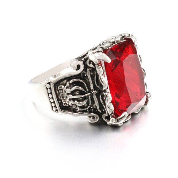 Red GemStone Jewelry Alloy Imperial Crown Ring for Men Classic Stainless Steel Male Ring Quality Wedding Ring