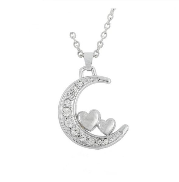 DN025 Fashion Popular Crystal Moon Necklace With Two Hearts I Love You To The Moon And Back Jewelry
