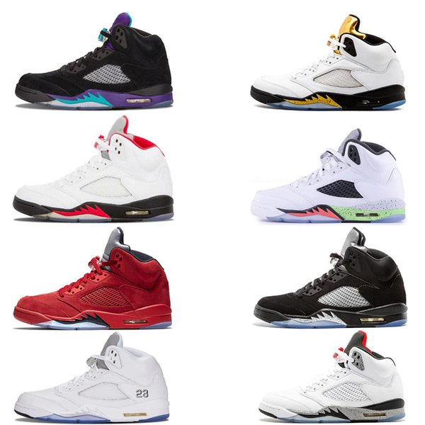 Classic mens Basketball shoes 5 5s Black Grape White Cement Oreo Olympic Gold Medal Space Jam Blue Fire Red Sport Sneakers size 7-13