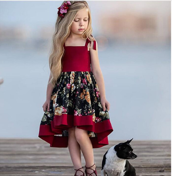baby girl cinghie fiore abito di pizzo estate irregolare vintage rondine tail festa da sera rosso per bambini vestito