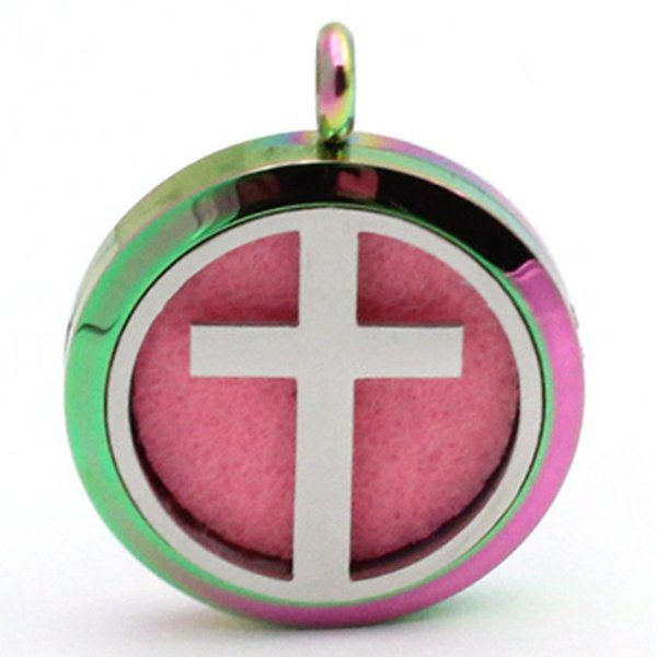 316L stainless steel Cross hollow 30mm Pendant Car Diffuser Locket Vent Clip Aroma Perfume Magnetic Locket without Felt Pads