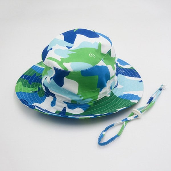 2020 new blue green camo casual children camo bucket hat kids boy girl summer sun hat camouflage fisherman panama fishing cap thumbnail