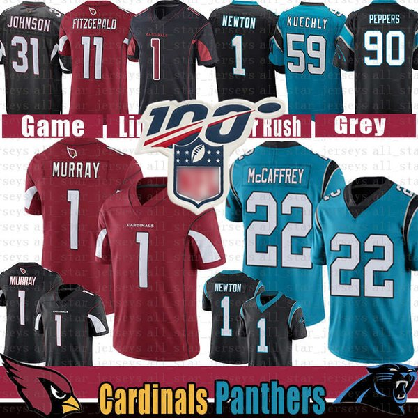 arizona 1 kyler murray cardinal carolina jersey 22 christian mccaffrey panther larry fitzgerald johnson 1 cam newton luke kuechly peppers, Black;red