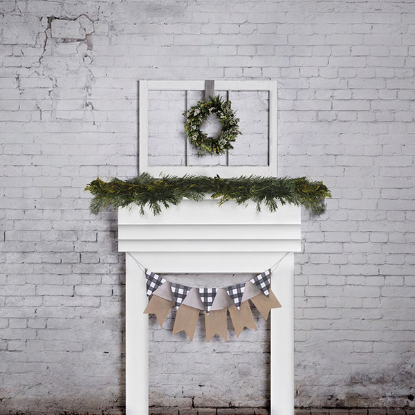 Old Brick Wall Green Garland Vinyl Christmas Fireplace Backdrop for Photography Baby Kids Family Party Photo Booth Background