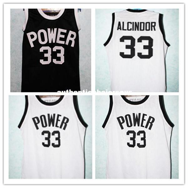 Maillots de basket-ball de maillots de basket-ball Kareem Abdul Jabbar n ° 33 Lew Alcindor Power pour lycéens