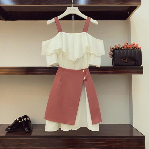 2019 Summer Girls Student Off Shoulder Straps Ruffled Long Tshirt Dress+Irregular Mini Skirts Two Piece Sets Women