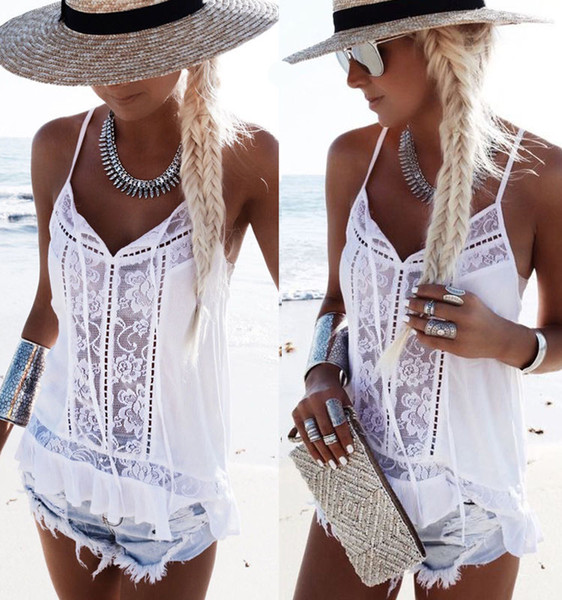 c2336cc19d ITFASB Newest Lace Beach Cover Ups Women summer Loose Vest tank tops  sleeveless Strappy blouse shirt