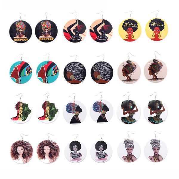 Afro Holz Ohrringe Druck Afrikanischen Kopf Bunte Eardrop Holz Runde Charme Creolen Für Frauen Dame Schmuck
