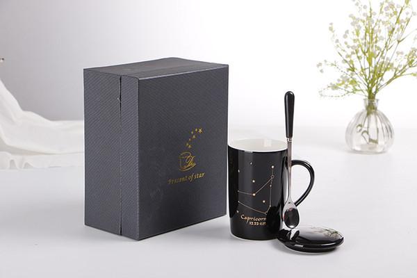 Drop shipping 400ml Creativo Drinkware Tazza in ceramica con coperchio e cucchiaio Cartoon latte caffè Tazza da tè in porcellana tazze Regali piacevoli