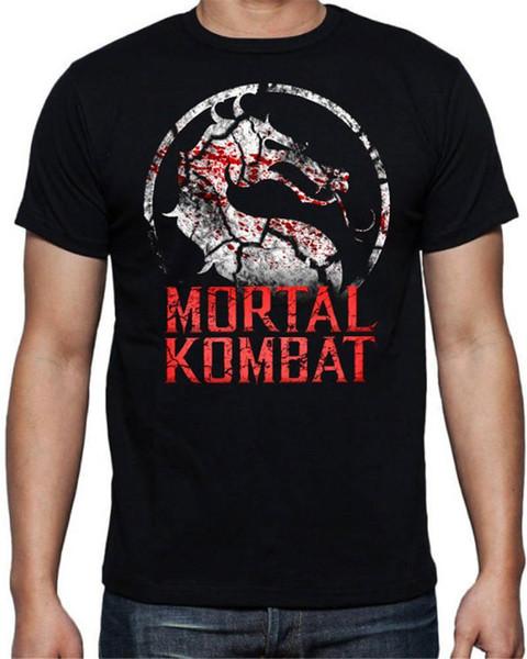 T-shirt in cotone nero con stampa hip-hop T-shirt con scollo a barchetta Mortal Kombat T-shirt manica corta da uomo