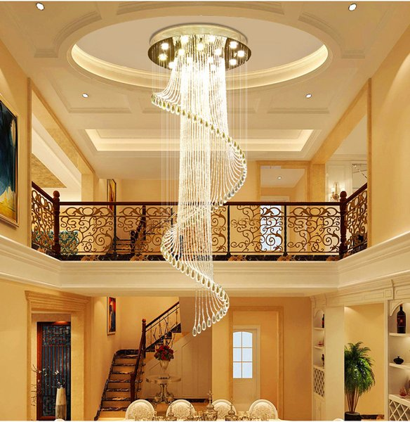 Contemporary Stairs spiral staircase lamp minimalist duplex villas long the House floor large living room crystal Ceiling lamps