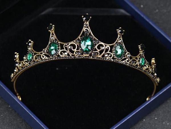 Vintage baroque crown new alloy green diamond small crown noble elegant headpiece