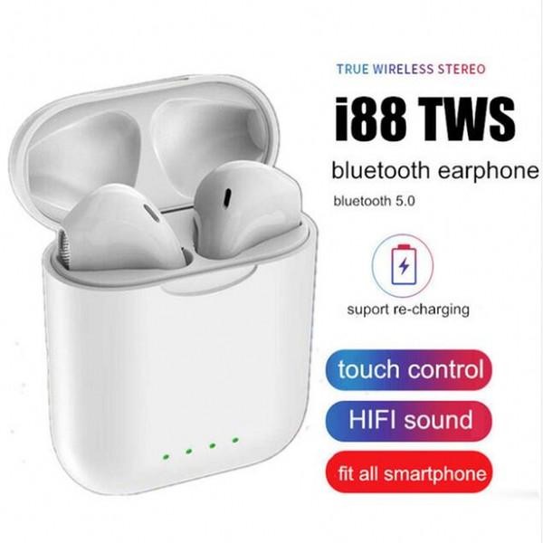 I88 TWS Bluetooth Kopfhörer Drahtlose Kopfhörer Touch Control 3D Surround Sound Ladekoffer für alle Smartphone PK i10 i11 i12 TWS