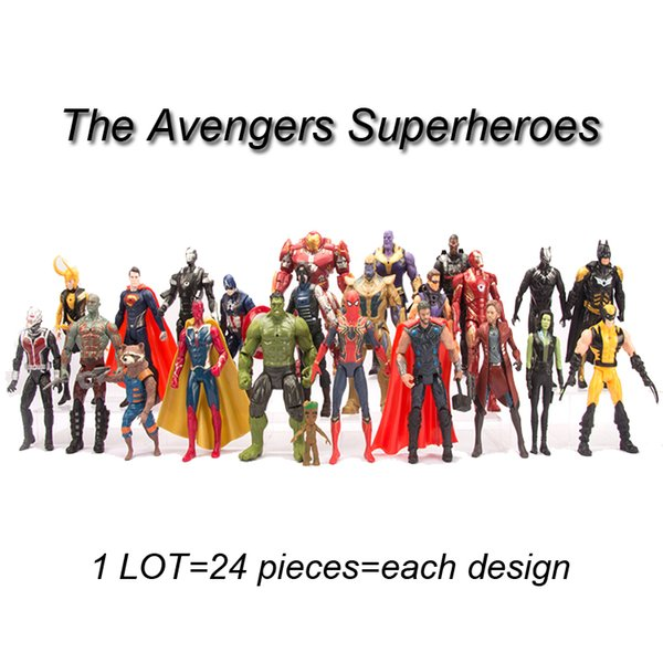 marvel avengers action figures toys 24 pieces/lot PVC Avengers Superheroes iron man spiderman anime figure dolls boys kids toys BSS233