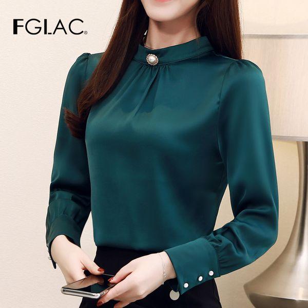 FGLAC женская блузка рубашка Мода Повседневная с длинным рукавом шифон блузка Элегантный тонкий сплошной цвет офис леди рубашка blusas весна