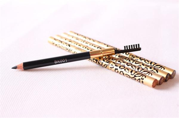 Leopard double head eyebrow eyeliner pen waterproof black brown grey pencil with bru h make up eyeliner 5 color