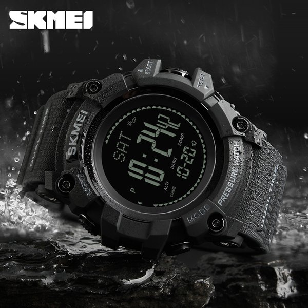 SKMEI Brand Compass Watch Men Sport Fashion Wristwatch Pedometer Mileage Calories Countdown Altimeter Alarm Clock 1358