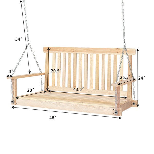2019 4 Ft Porch Swing Natural Wood Garden Swing Bench Patio Hanging Seat Chains From Jiaozongxiao668 96 48 Dhgate Com