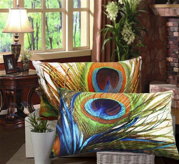 Peacock Feather Cushion Covers 30X50cm Luxury Decorative Pillows Covers 3D Luxury Throw Pillows Cases Sofa Chair Decor