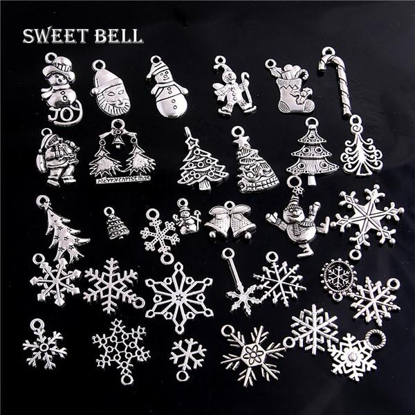 100pc Vintage Metal Christmas Charm für Schmuckherstellung DIY Weihnachtsgeschenk Anhänger Charms Schmuck Handmade Crafts 6207