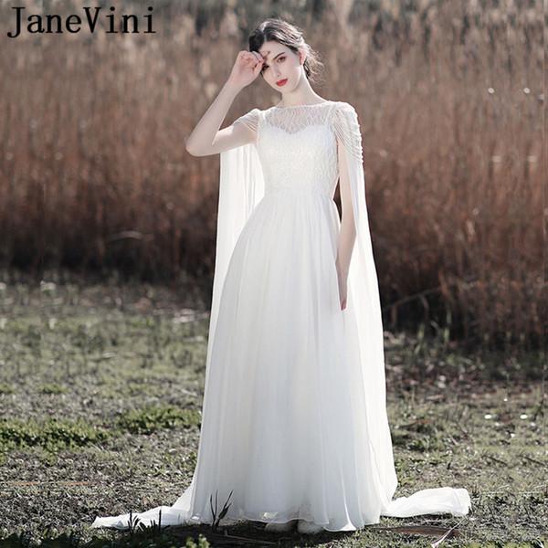 JaneVini 2019 Gorgeous Chiffon White Beach Long Wedding Dresses Pearls A Line New Plus Size Bridal Gowns Beaded Backless Vestido De Novia