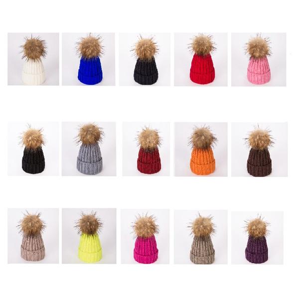 Winter Frauen Strickmütze Warme Pom Pom big ball Wollmütze Damen Schädel cap Beanie Solide Weibliche Outdoor Caps T2C5073