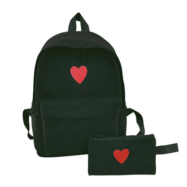 2 Pcs/Set Hot Sale Women Love Heart Printed Canvas Backpack Lady Travel Bag Girls Students Pencil Case School Shoulder Bags