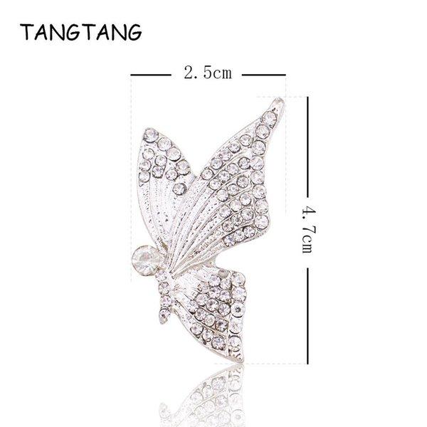 Silber Strass Tier Schmetterling Stil Flache Rückseite Taste Für Hochzeitseinladung Dekoration Handgemachte Legierung mit Kristall NK046