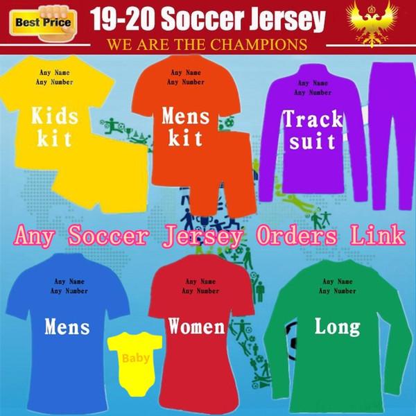 Personalizadas al por mayor Jersey de fútbol 19 20 Camisetas de fútbol para niños adultos mujer chándales punto de los hombres BBSoccer Jersey Clientes chaqueta Orden de vínculos