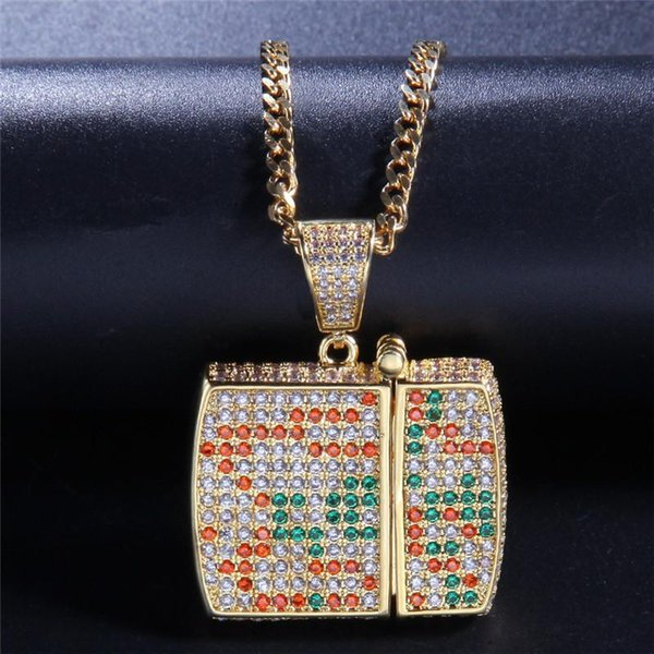 Lighter Pendant Hiphop Necklace Ice Out 18K Gold Plated Jewelry Colorful CZ Hip Hop Pendant Necklace For Men
