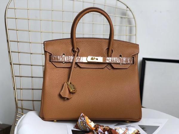 Frete grátis designer de moda bolsa feminina saco de couro de bezerro de couro marrom matt bolsa de ombro totes ouro Hardware 35 cm marca nova