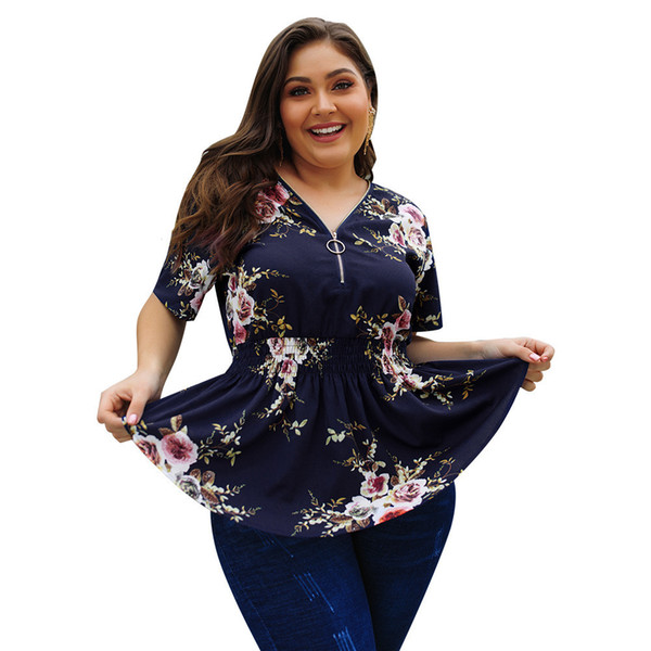 2020 Suit-dress tops blouses V Lead Will Code Printing Jacket woman chiffon plus sized SHIRTS womens clothing New Design Fashion For free