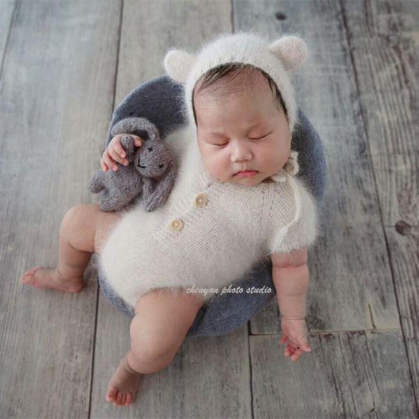 Mink yarn knit newborn dress clothes romper photo props,winter warm clothes,handmade romper for newborn props,baby Dress gift Y18120801
