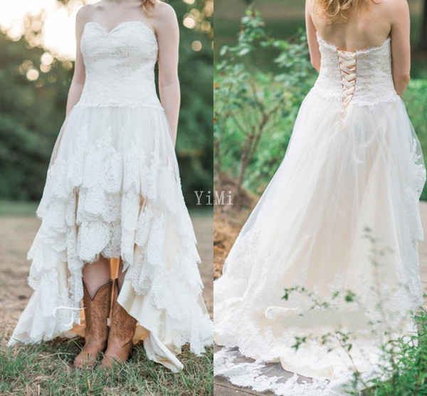 Discount High Low Wedding Dresses 2019 Sweet Heart Backless Appliques Hi Lo  Country Garden Bridal Gowns Robe De Mariée Plus Size Cheap Ball Gown ...