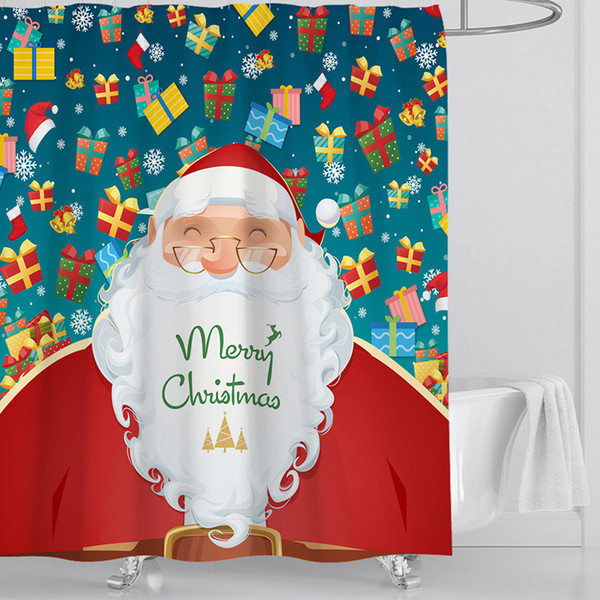 5 Christmas Designs Bath cortina Papai Noel Bath Cortina desenhos animados Bath Mats Toilet Tampa Tampa 4pcs / lot Natal Decoração 1 Lote DHL