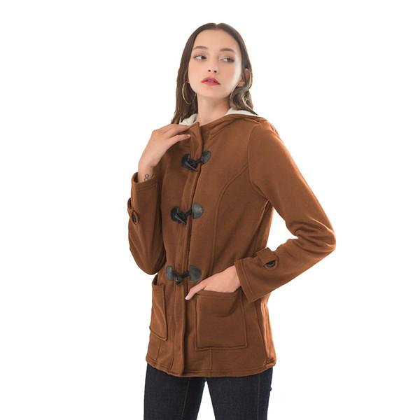 Plus Size Women Autumn Winter Coat Ox Horn Buckle Zipper Pockets Loose Comfy Outwear Casual Hoodie Tops Ladies Cotton Parkas