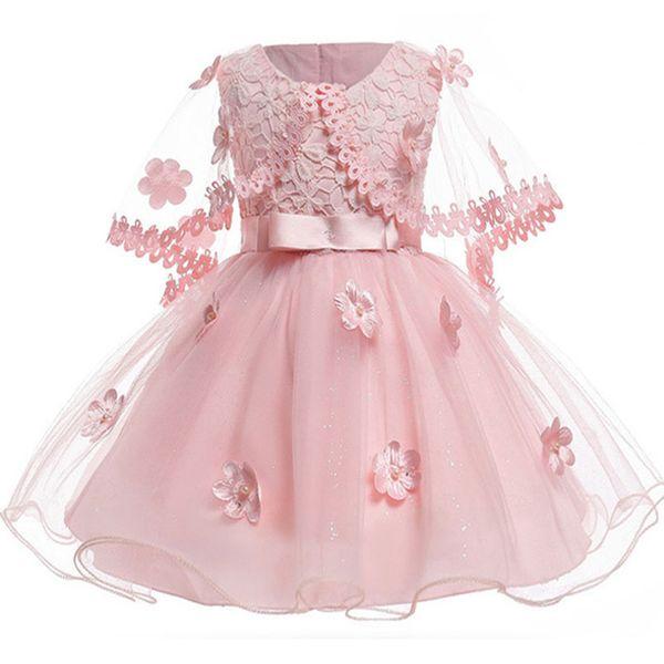 Girls Vintage Pink Flower Infant Princess Baby Christening Dress Shawl Baptism 1 Birthday Wedding Party Dresses Q190518