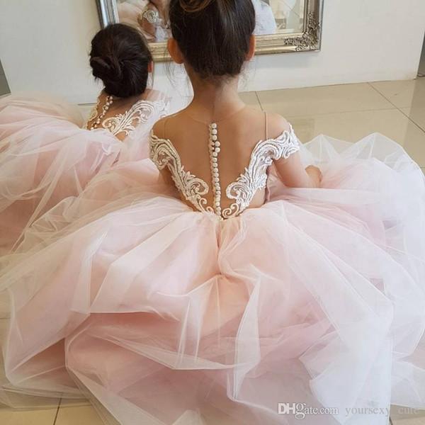 Blush Pink Ball Gown Flower Girls Dresses For Weddings Sheer Neck Long Sleeves Embroidery Tulle Floor Length Children Wedding Dresses Flower Girl