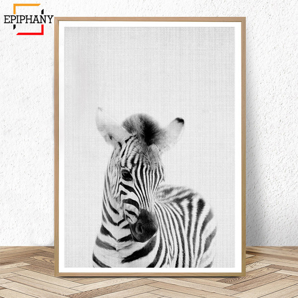 Baby Animal Nursery Decor Zebra Print Black and White Wall Art Canvas Painting Large Animals Posters Kids Room Wall Decoration