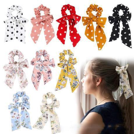 INS Bright Rose Floral Haargummis Damen Accessoires Haarbänder Krawatten Pferdeschwanzhalter Gummiseil Dekoration Langer Bowknot