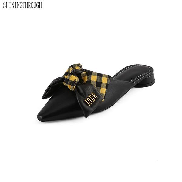 Chinelos de Salto baixo Mulher bowties Dedo Apontado Desliza Sapatos Femininos Genuínos Mulas De Couro Sapatos Mulheres