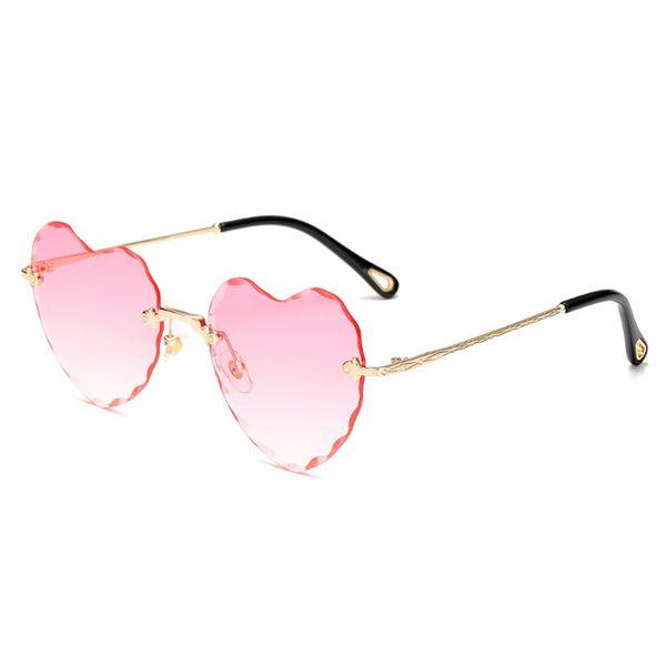Cutting Resin Len Sunglasses Women Brand Designer Rimless Love Heart Sun Glasses Gradient Shades Sunglass Elegant Ladies Eyewear