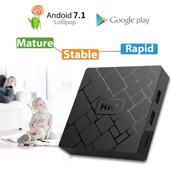 Wholesale HK1 SMART TV BOX Android 7.1 2GB 16GB Amlogic S905W Quad-core cortex-A53 Set Top Box 4K IPTV HDMI Media Player andriod tv box
