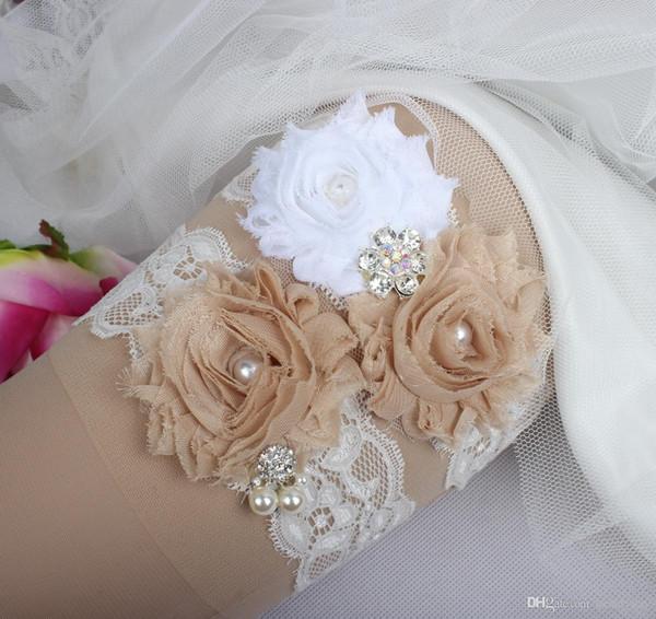 Perle di strass da sposa Perle di cristallo Perline di champagne Fiori di pizzo Per la sposa Giarrettiere da sposa Giarrettiere Taglia intera Fabbrica all'ingrosso