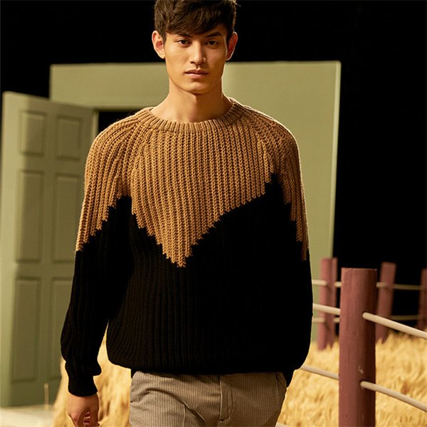 100% hand made pure wool thick knit men fashion oneck patchwork loose pullover sweater customized