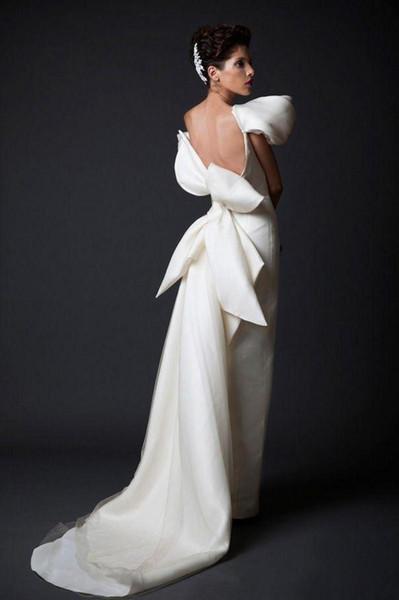 New White Long Court Train Ruffles Backless Evening Gowns With Big Bow dubai arabic Women Formal Wear Cheap Unique Design Evening Dresses