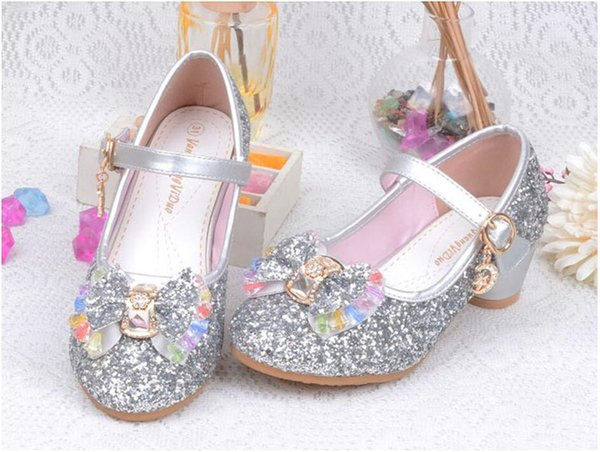 Glitter Girls High Heels Shoes For Children Kids Princess Sandals Tie Bowknot Baby Girls Crystal Shoes For Wedding Party 27-37Y New A42506